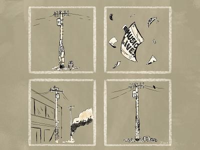 Pandemic Utility Pole feels sad story comic scca design illustration