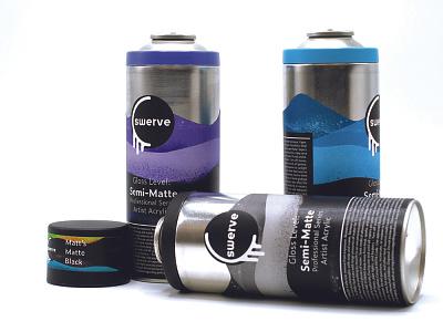 Swerve Premium Paint scca spraycan logo design package design