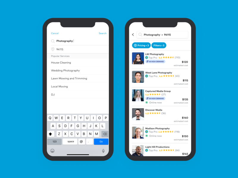 Thumbtack Search Experience interaction design app search ui ux design