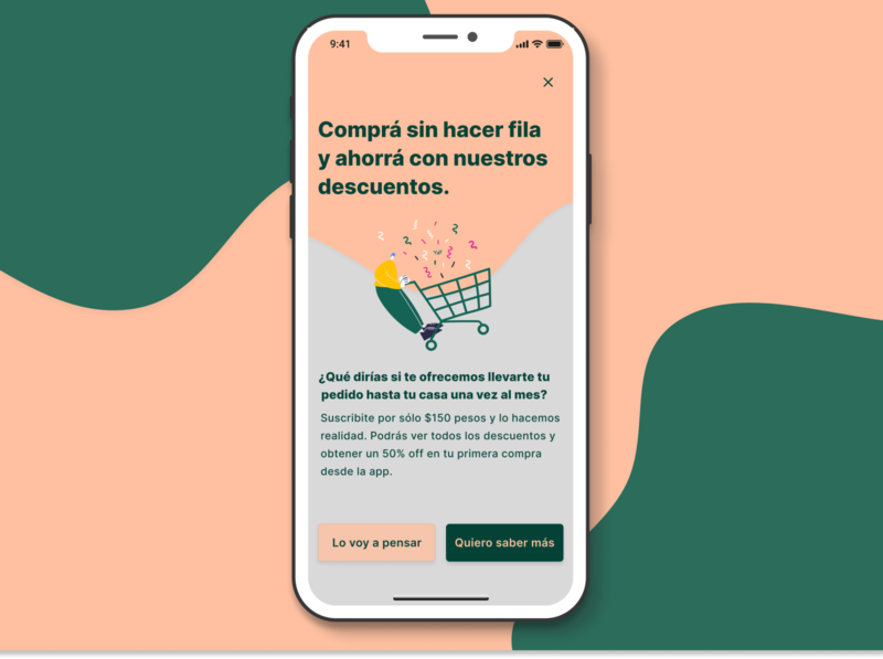 Supermarket subscription writing vector illustration argentina ux writing market shop illustration ux iphone design figma uidesign user interface
