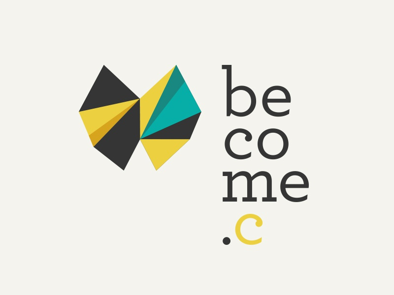 Become community logo symbol butterfly origami