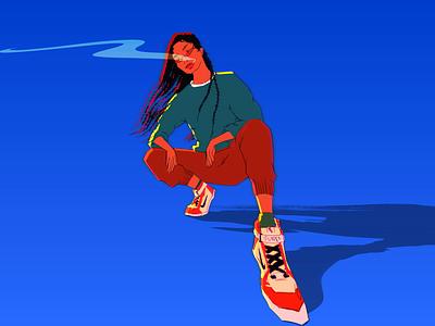 Azure gif animated loop photoshop portrait girl concept art character smoke women fashion retro colorful gif 2danimation design illustrator illustration digital art animation