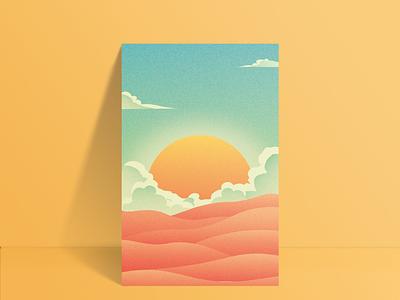 Sun Poster design background poster design flat simple grainy colors hill sky warm bright yellow digital art illustrator illustration print poster