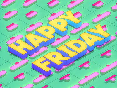 Happy Friday vaporwave retrowave retrodesign parallel isometric trendy memphis techno retro glow glowy bright 2danimation 3danimation looping gif colorful digital art animation design