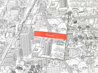 Color Our City Beautiful illustrator vector map black and white illustration black and white drawing maximalism design illustration