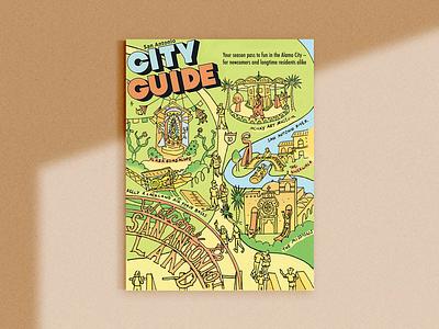 San Antonio Current City Guide map design maps editorial editorial illustration drawing map maximalism illustrator illustration