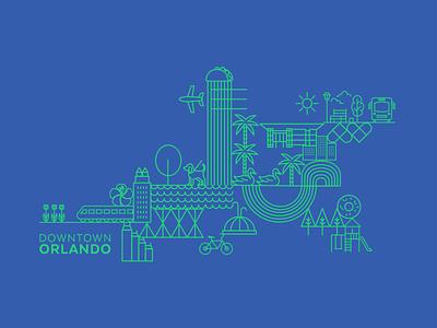Downtown Orlando Brand logo design illustrator branding design illustration branding and identity illustrative branding branding