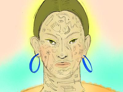 Face Tattoos future face editorial art tattoo concept procreate editorial illustrator illustrative branding illustration