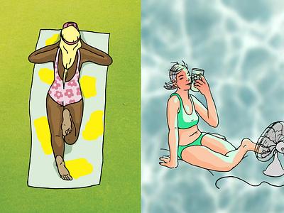 Summer Guide hot summer girl character girls spot editorial illustrator illustration