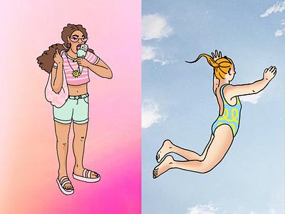 Summer Guide girls feminine soft spot editorial dreamy illustrator illustrative branding illustration
