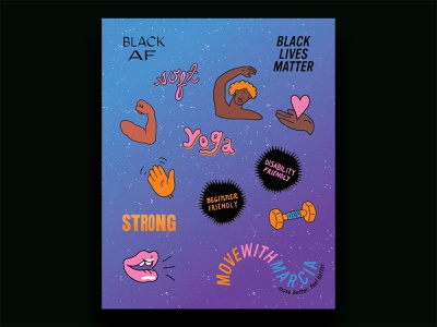 Move With Marcia strength yoga movement wellness branding brand identity brand design illustrator illustrative branding illustration