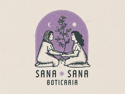 Sana Sana Boticaria magic herb vector visual identity logo design brand design branding illustrator illustrative branding illustration