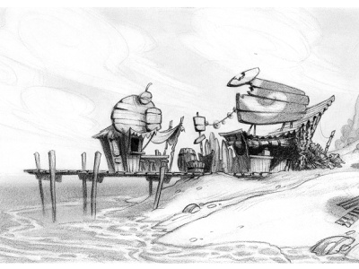 Tropical Beach Pier animation pencil drawing prop design layout visual development illustration drawing