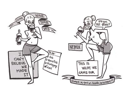 Wine Time illustration cartoon drawing ink comics drawing