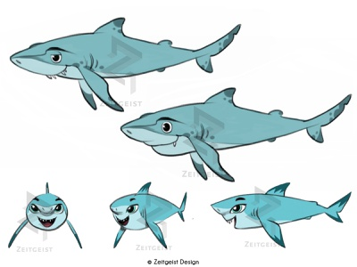 Shark Character Designs visual development digital illustration illustration turnaround character design