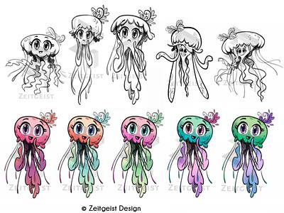 Nervous Jellyfish Character digital art digital illustration illustration photoshop visual development character design