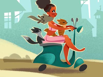 Vespa Girl cutesy art digital art procreate illustrator illustration girls drawing girls vespa cat art cats