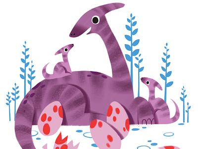 Mommy Dino and Eggs illustrator procreate digital art kid lit art illustration mothersday mommy mom dinosaur
