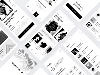 Booksquad branding typography flat minimal creative design ux app clean ui