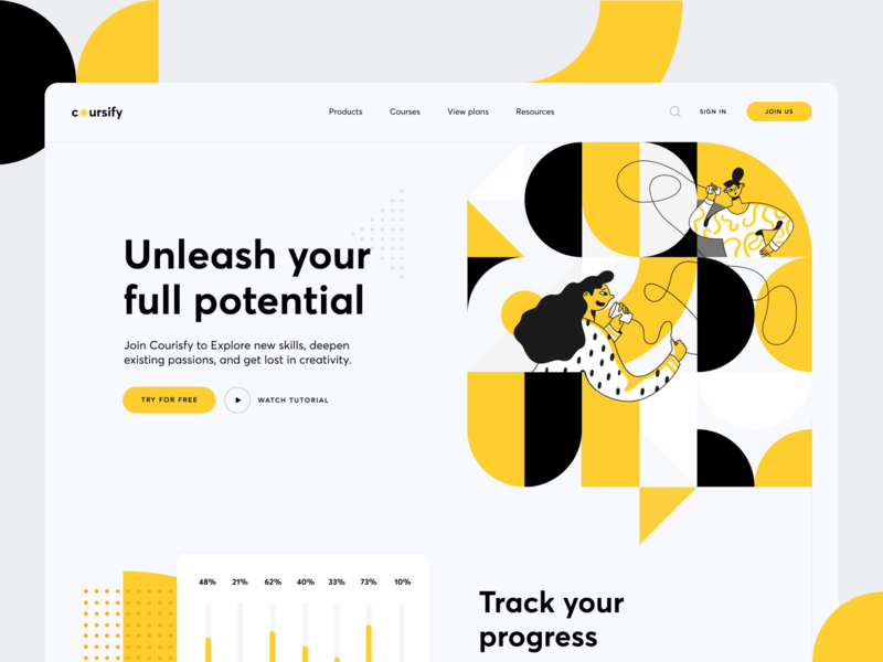Coursify Landing Page web ux vector branding animation minimal website design clean ui