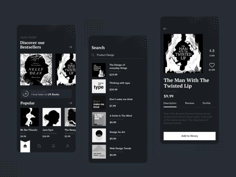 Booksquad Dark typography flat minimal ios design app ux clean ui