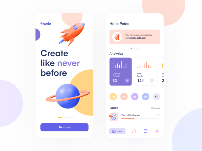 Flowio branding flat minimal creative app design ui clean