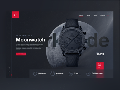 Dark Side Of The Moon ui  ux design red website watch dark clean user interface ui ux design
