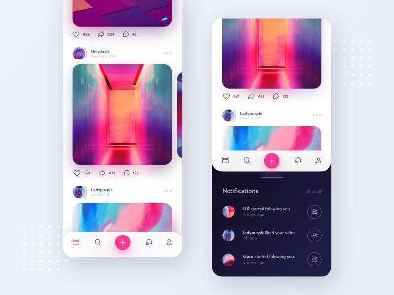 Insta redesign flat creative 2019 ios design clean app ux ui