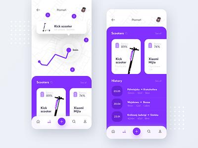 Scooter App minimal branding typography icon ios 2019 creative design clean app ux ui