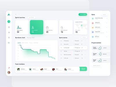 Sprint Report Dashboard web vector minimal flat website 2019 design ux app clean ui