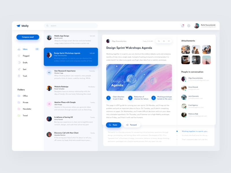Maily - Mail Client typography flat minimal website 2019 design app ux clean ui