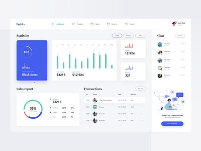 Fashio Dashboard typography minimal website creative 2019 design app ux clean ui