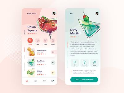 Cocktails! illustration minimal flat creative ios 2020 design app ux clean ui