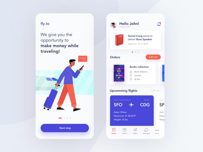 fly.to illustration flat minimal ios 2020 design app ux clean ui