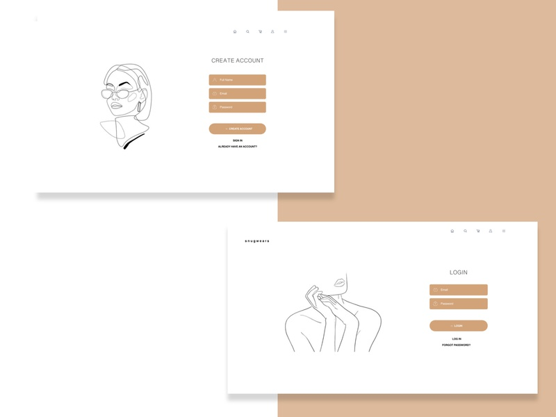 sign up / login page fashion illustration concept clean uiux uidesign login page signup page ui minimal login signup