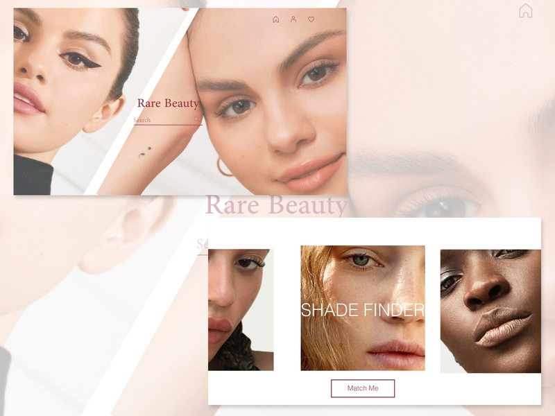 RARE BEAUTY Landing Page Concept application makeup selena gomez uidesign ui  ux website builder website concept website design website artwork minimalistic minimalism minimal ui design concept clean