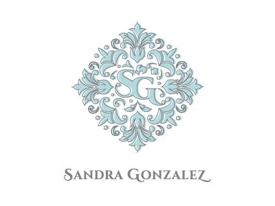 Sandra Gonzalez SG Monogram and Logo logo branding graphic design monogram damask brocade sg cinzel font dubai