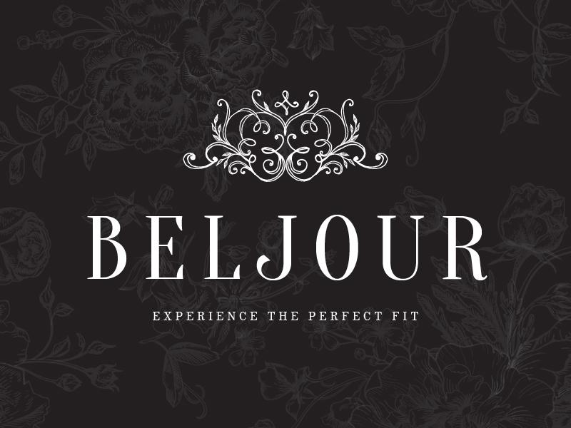 Beljour Logo hand drawn boutique wedding dubai bridal embroidery crest swirls handdrawn branding logo