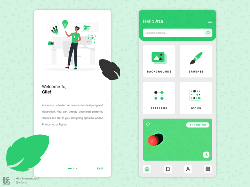 Gile Designers Resource App UI