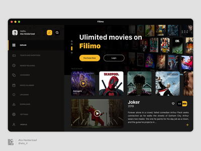 Filimo Desktop Movie App joker material iran photoshop xd sketch figma film movie macos mac os ios flat ui design uidesign uiux uikit ux ui
