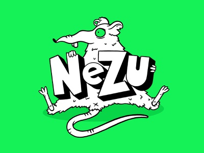 Nezu logo and character design ipad procreate youtuber character illustration 90s grunge neon green rat logotype logodesign