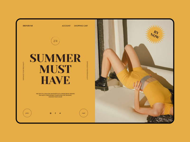 HOMEPAGE // SPORT CLOTHES BY MIRONBYMI page homepage elements fashion minimal typography clothes sport yellow designer modern website web user interface ux user experience ui interface figma design