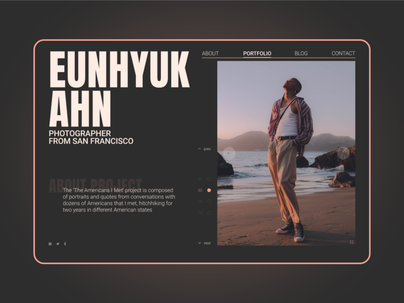 Homepage for photographer from SF clean homepage photographer photography typography elegant warm color palette designer modern website web user experience user interface ux ui minimal interface figma design