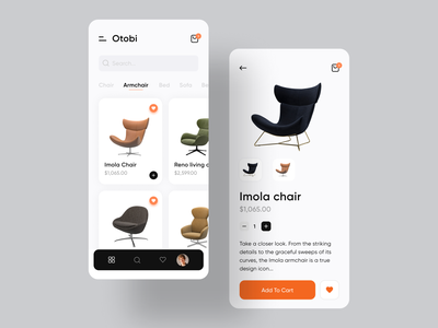 Otobi Furniture App best dribbble shot chair design cart branding ecommerce app furniture design app design furniture app minimal design minimal