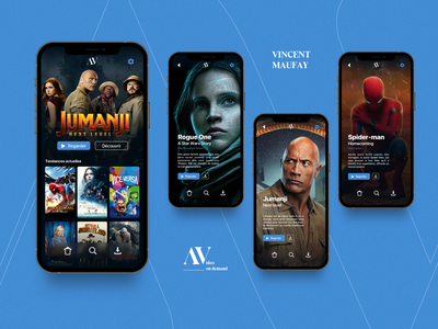 AV - Video on demand - Fic App web design ui  ux uxdesign sketch webdesign ui design movie design uiux video on demand fictive app