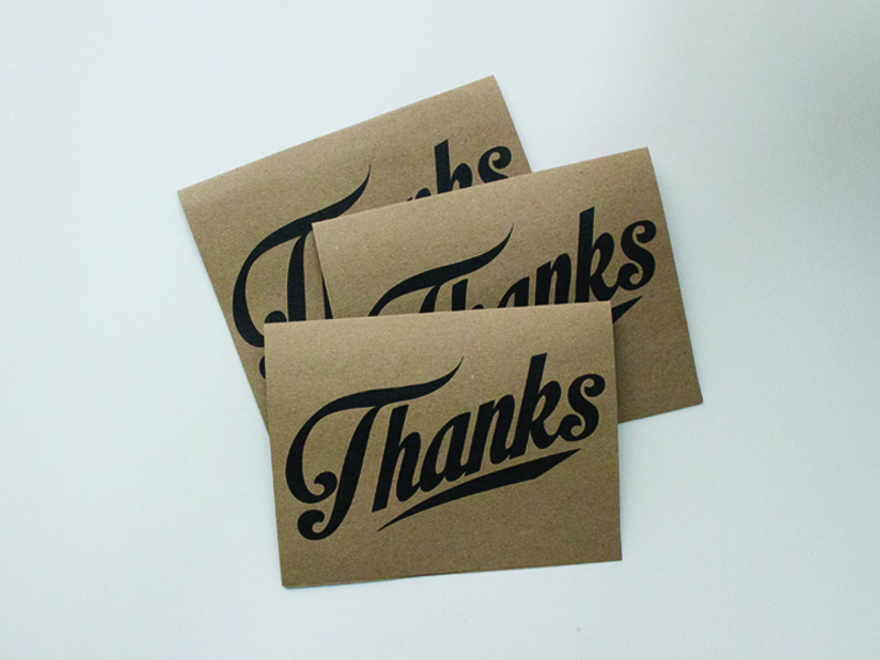 Thank you notes recycled brownpaper thanks typography thankyou cards