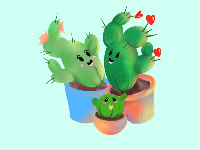 Cactus family art procreate family cactus drawing