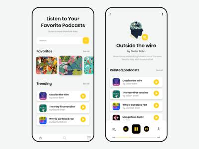 Podcast App Design Concept frontend app design ui ux illustration design adobe xd adobe app design figma adobe xd