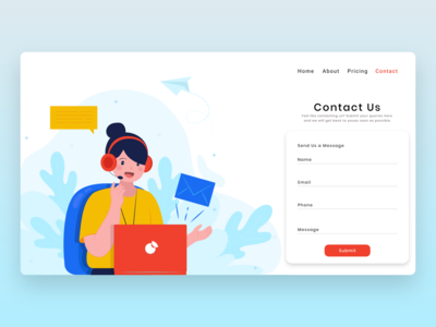 Contact Us DailyUI 028 website contactpage web frontend ux daily 100 challenge ui design adobe xd adobe 028 dailyui