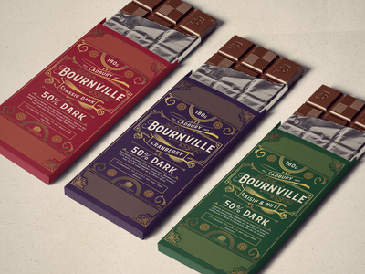 Bournville Rebrand - Weekly Warmup art deco mockup packaging logo candy branding typogaphy vector photoshop illustrator vintage colours rebrand brand chocolate